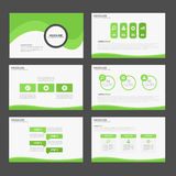 Green Abstract Brochure report flyer magazine presentation element template a4 size set for advertising marketing website Royalty Free Stock Photo