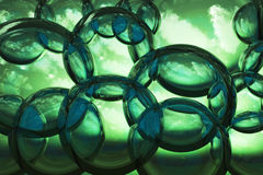 Green abstract bubbles composition Stock Photography
