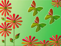 Green abstract butterflies. Green flowers and butterflies illustration Stock Images