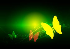 Green abstract and butterfly Royalty Free Stock Photo