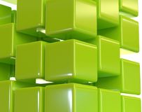 Green abstract cubes block array 3d illustration Stock Image