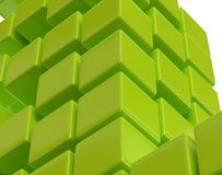 Green abstract cubes block array 3d illustration Royalty Free Stock Images