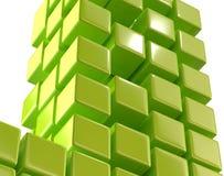 Green abstract cubes block array 3d illustration Royalty Free Stock Photos