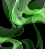Green abstract curves on the black background Stock Photos