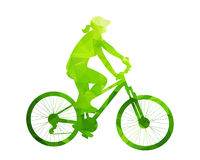 Green abstract cyclist woman silhouette Stock Photo