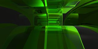 Green abstract 3D interiour design modern future. Style royalty free illustration
