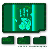 Green Abstract digital conceptual technology security background. With lock. computer technology website internet web. infographics. fingerprint. Finger-print Stock Photos