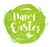 Green abstract Easter background. Abstract round green Easter background with lettering and doodles. Hand drawn vector illustration royalty free illustration