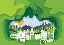 Green abstract eco city paper art background. Green eco living with cityscape abstract paper cut background.Paper art style of nature and environment Stock Image