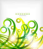 Green abstract eco wave swirls with lights Royalty Free Stock Photo