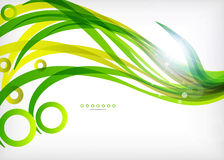 Green abstract eco wave swirls with lights Stock Photos