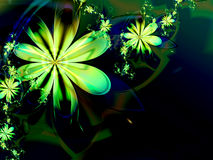 Green Abstract Flower Fractal Dark Background Stock Photography