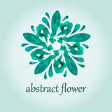 Green abstract flower illustration for poster. Vector illustration of one green abstract flower with polygonal pattern for logo or poster Royalty Free Stock Photography