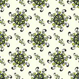 Green abstract flowers on a light background pattern seamless vector Royalty Free Stock Photo