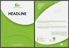 Green Abstract Flyer Template with Modern Simple Design stock illustration