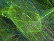 Green abstract fractal curves with chaotic lines. On a black background Royalty Free Stock Photography