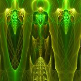 Green abstract fractal wallpaper with different and many shapes. Abstract background with different forms and different colors for any purposes stock illustration