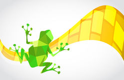 Green abstract frog over a yellow shape wave Royalty Free Stock Images