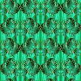 Green abstract geometric vector seamless pattern. Ornamental pai. Sley flowers 3d background. Creative design for fabric, textile, wallpapers, panel, prints vector illustration