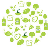 Green Abstract Globe With Food Icons Royalty Free Stock Photography