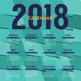 2018 Green Abstract Graphic Printable Calendar Starts Sunday Stock Photo