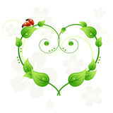 Green abstract heart, leafs and ladybirds love Royalty Free Stock Photos