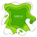 Green abstract layout - vector paper cut illustration. On white background with place for your information. Gradient texture, 3d effect design. High quality vector illustration