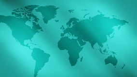 Green abstract lights background and world map stock video footage