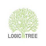 Green abstract line eletric logic tree sign logo vector creative design Stock Illustration
