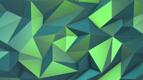 Green abstract low poly triangle background. 4k stock video