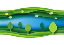Green Abstract Nature Landscape Paper Art Background Royalty Free Stock Photography