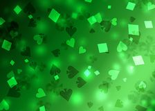 Green abstract poker pattern of playing card symbols.  stock illustration
