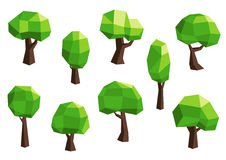 Green abstract polygonal tree icons Royalty Free Stock Photography