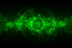 Green abstract technological background with various technological elements Royalty Free Stock Photos