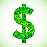 Green abstract triangles vector dollar symbol Royalty Free Stock Images