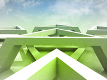 Green abstract trinagle structure with blue sky Stock Images