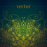 Green abstract vector background. Lace border Stock Photos