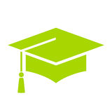 Green academic hat vector icon. Isolated on white background Stock Images