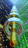 Green Accelerator. Green Valley with Metallic Torus Royalty Free Stock Photography