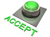 Green accept button. Green, three-dimensional button with the word accept in the foreground Royalty Free Stock Images