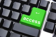 Green access button. On a computer keyboard Royalty Free Stock Images