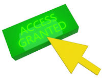 Green ACCESS GRANTED button with yellow cursor Stock Image
