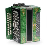 Green Accordion. Royalty Free Stock Photo