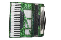 Green accordion isolated on white background. Classic musical instrument an accordion in green color isolated on white background Royalty Free Stock Photos