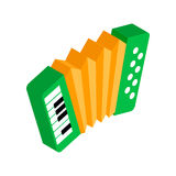 Green accordion with yellow bellows icon Royalty Free Stock Images