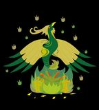 Green acid  phoenix. Green acid a bird a phoenix on fire Stock Photography