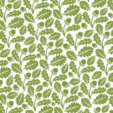 Green acorn with leaves. Background pattern with green acorn with leaves Royalty Free Stock Images
