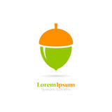 Green acorn vector icon. Isolated on white background stock illustration