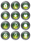 Green Action Buttons. A set of 12 shiny green action buttons with metallic borders Royalty Free Stock Image