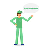 Green activist and ecology. Green activist with text. Save our planet. Ecology concept. Vector Stock Images